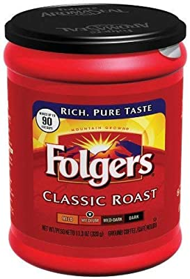 FOLGERS Classic Roast Medium Ground Coffee 1 x 320g TUB American Import from FOLGERS