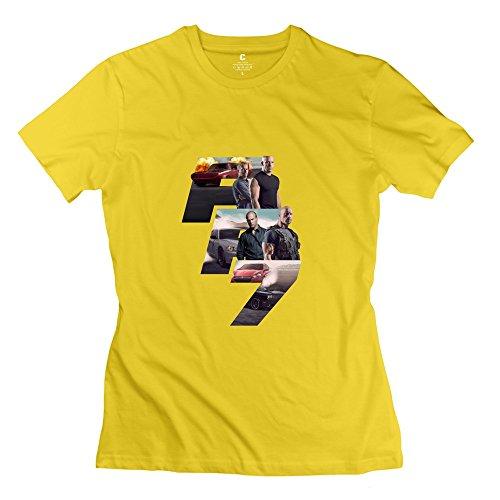 Kst Frau Fast und Furious 7T-Shirt 100% Baumwolle Zitate Gr. L, Gelb (Gelben Zitat T-shirt)