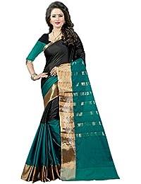 Shree Sanskruti Women's Poly Cotton Saree With Blouse Piece (Aura 16 Rama Black_Rama Green & Black)