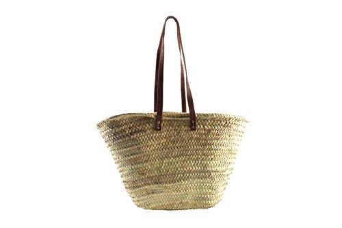 Palmtasche Korbtasche Einkaufstasche Flechttasche Strandtasche Ibizatasche aus Palmblatt mit Echt Lederhenkeln
