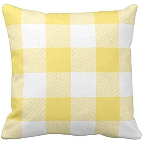 Rustic Yellow and White Buffalo Check Plaid Outdoor pillow case 2424