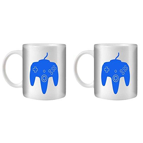 STUFF4 Tasse de Café/Thé 350ml/2 Pack Bleu/N64/Céramique Blanche/ST10