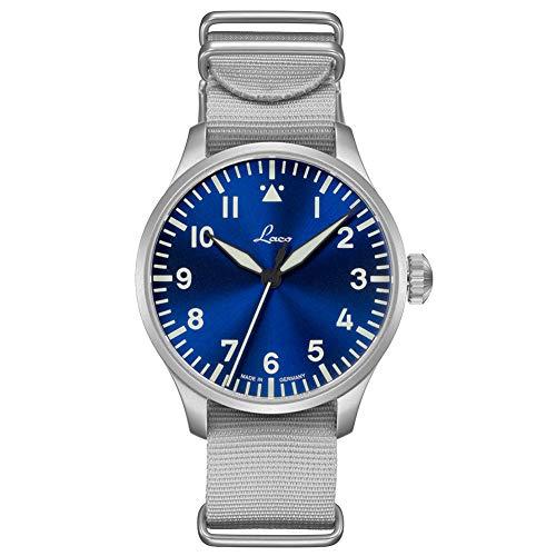 Fliegeruhr Basis Augsburg blaue Stunde 42 von Laco – Made in Germany – 42mm Ø hochwertige Automatikuhr – Einzigartige Qualität. Herausragende Verarbeitung – Wasserdicht...
