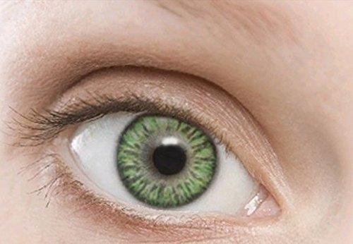 Farbige Kontaktlinsen Jahreslinsen grün hellgrün gute Deckkraft ohne Stärke mit Aufbewahrungsbehälter
