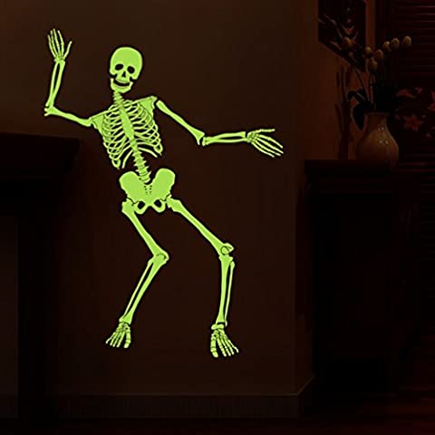 Luminous Skull Wall Stickers (Removable, Waterproof, Green) for Living Room Bedroom Office Dormitory Bar Background