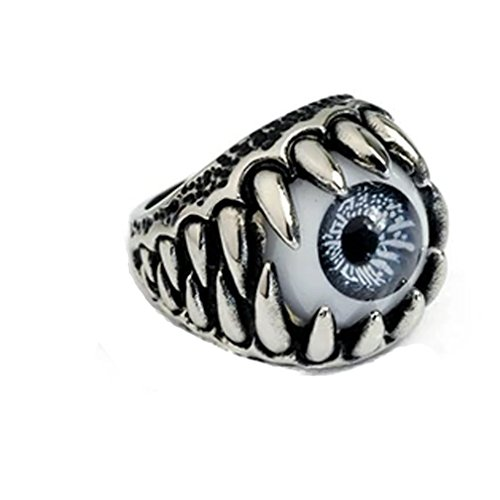 Lalang Eyes of Devil Rings Men s Silver Plated Rings Halloween Dressing Accessory  20mm  blue
