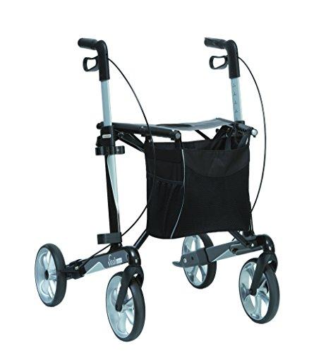 Russka Rollator Vital carbon 62 cm Sitzhöhe/ 5,8 kg/ mit Stockhalter und Tasche/ faltbar
