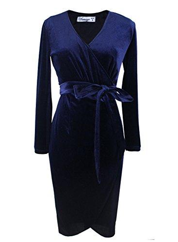 VfEmage Womens Elegant Sexy V Neck Velvet Party Cocktail Sheath Wrap Dress 8440 Blu S