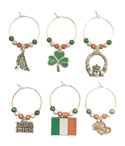 Set von 6Irland–Irish Wein Glas Charms mit Organza Geschenkbeutel handgefertigt von Libby 's Market Place (Die Irische Rugby-irland)