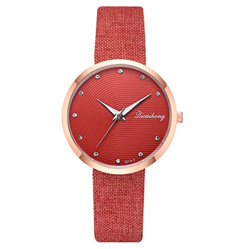 TWISFER Uhren Damen, Armbanduhren Günstige Uhren Casual Strass Runde Quarz Analog Armband Armbanduhr Coole Uhren Lederarmband Mädchen Frau Uhr