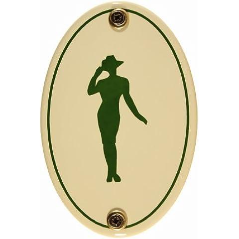 Buddel Bini–Targa per porta, smaltata Pictogram Donna Toilette WC, (Ottone Ovale Porta)