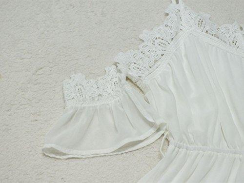 5e860e869d7a72 ... Junshan Boho Jumpsuit Damen Sommerkleid Elegant Playsuit Chiffon  ärmellos Overall Spitze Romper Jumper Kurz Strandkleid Weiß