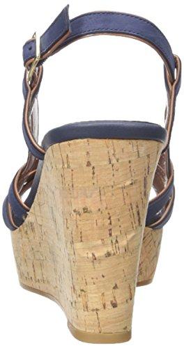 Lauren Ralph Lauren Quaylin Cuir Sandales Compensés Modern Navy-Polo Tan