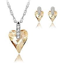 GoSparking del oro de Champán Corazón de cristal del oro blanco 18K plateó los pendientes y colgante conjunto con el cristal austríaco para las mujeres