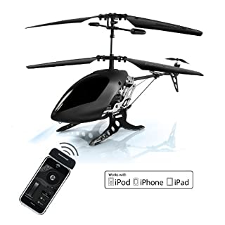 Akita Black Eagle; WD0546i / ABE055, iPhone remote controlled helicopter, up to 30M Flying Range Indoors and Outdoors, Night Flying Capabilities - Black