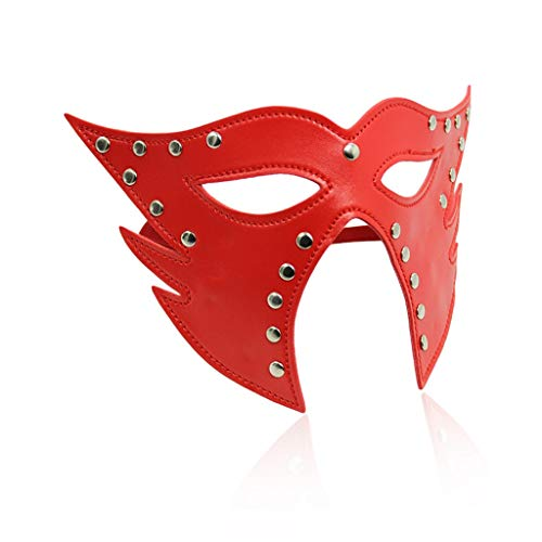 CS Paar Flirten PU Leder Schlafmaske Eyeshade Cat Face Goggles Maske Alternative Toys Gebündelte Bondage Passion Supplies (Color : Red) - Cs Satin