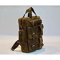 """Vintage Genuine Buffalo Leather 18"""" Backpack Rucksack Travel Bag College Bag SALE"""