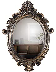 KURTZY Classic Antique Style Wall Mirror, Oval Sculpt for Home Décor, Living Room, Bedroom and Bathroom (46 cm x 63 cm) (Elliptical)