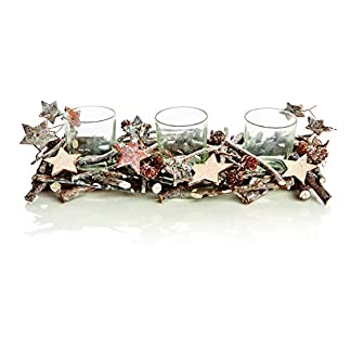 Premier Decorations Natural Twig & Star Woodland – Portavelas (31 cm)