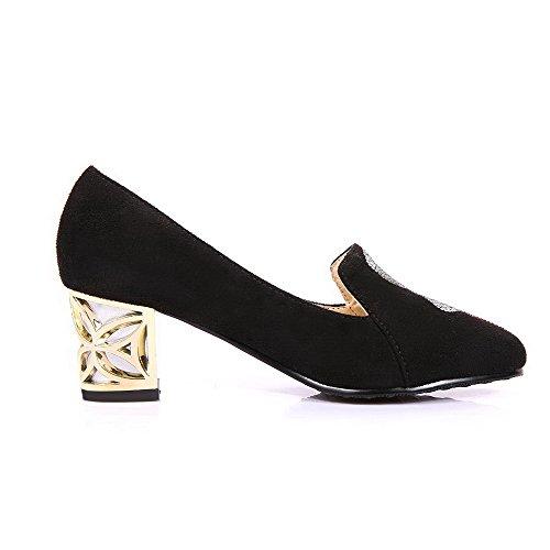 AllhqFashion Femme Dépolissement Tire Pointu à Talon Correct Couleur Unie Chaussures Légeres Noir