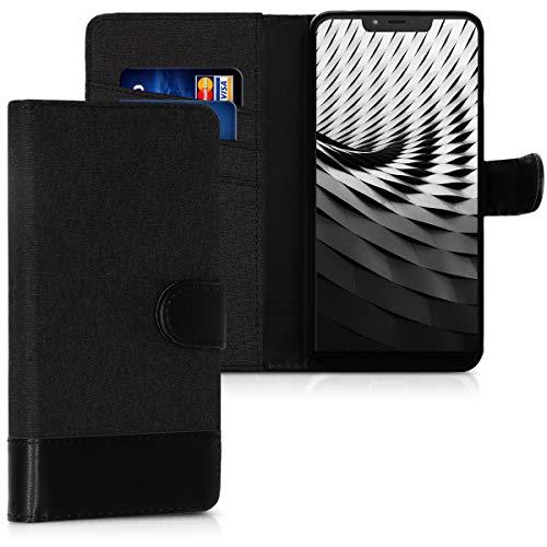 kwmobile Wiko View 2 Plus Hülle - Kunstleder Wallet Case für Wiko View 2 Plus mit Kartenfächern und Stand
