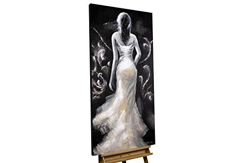 KunstLoft® Acryl Gemälde 'All Eyes on Me' 60x120cm | original handgemalte Leinwand Bilder XXL | Frau Schwarz-Weiß Kleid Erotik Romantisch | Wandbild Acrylbild moderne Kunst einteilig mit Rahmen