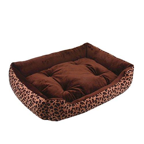 Lvrao letto per cane/gatto cuccia cuscino rimovibile reversibile per cani, divano x animale domestico, cestino per cucciolo (leopardo, m: 70*55cm)