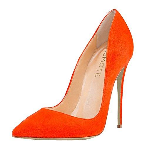MERUMOTE Damen Spitze Stilett Kleid-Partei Hochzeit Pumps High Heels EU 35-46 Orange