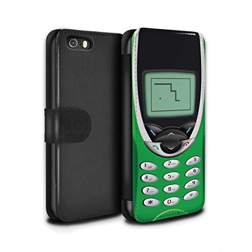 STUFF4 PU-Leder Hülle/Case/Tasche/Cover für Apple iPhone 5/5S / Grünes Nokia 8210 Muster / Vintage Handys Kollektion