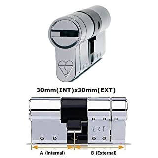 Avocet ABS High Security Euro Cylinder - Anti Snap Lock - Sold Secure Diamond Standard - 3 Star - Chrome 30mm(INT)x30mm(EXT)