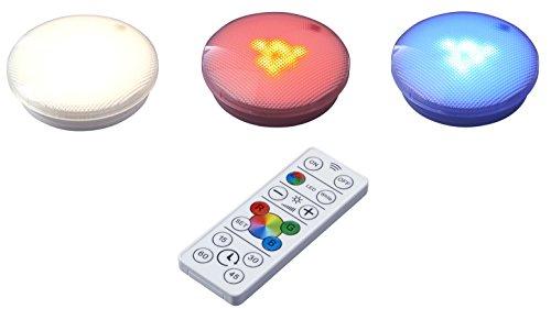 Northpoint LED Spots 3er Set Unterbau Küchenlampe Farbig Warmweiß Dimmbar Timer inkl. Batterien Touch Fernbedienung