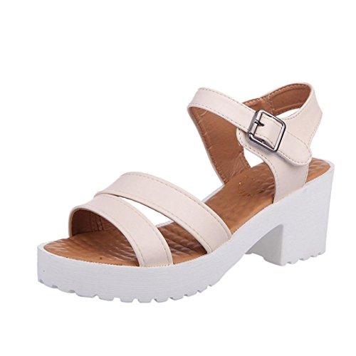 (S&H-NEEDRA Frauen Im Freien Runde Zehe Plattform High Heels Wedges Sandalen Schnalle Slope Schuhe)