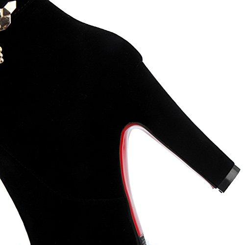 VogueZone009 Damen Eingelegt Mitte-Spitze Hoher Absatz Mattglasbirne Stiefel mit Anhänger Schwarz