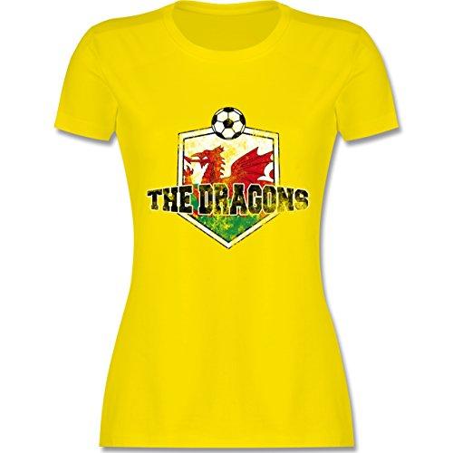 EM 2016 - Frankreich - Wales- The Dragons Vintage - tailliertes Premium T-Shirt mit Rundhalsausschnitt für Damen Lemon Gelb