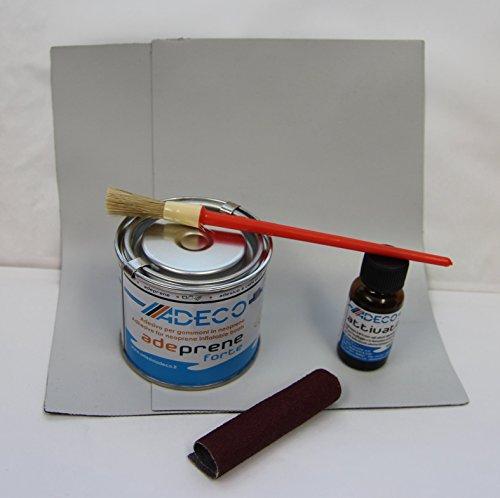 Yachticon Schlauchboot Reparaturset - grau - Profi Neopren für Gummiboot - 2-komponenten Reparatur set für Neopren hypalon Synotex bestehend aus Flicken, Kleber, Härter, Rauhpapier, Pinsel -grau