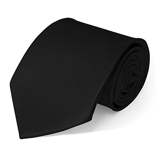 Klassische Krawatte inkl. Anleitung breit viele Farben Satin Schlips Herren, Farbe:Schwarz