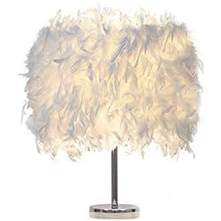 Lámpara de mesa blanca de la pluma