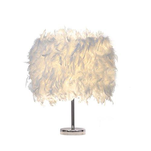 Federn Tischlampe,Nachttischlampe mit Weiß Feder, Retro Tischleuchte,Schlafzimmer Wohnzimmer moderne Lichter