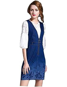 de 2017 nuevas mujeres vestido de mezclilla camisa del cordón + de dos piezas de impresión de la mariposa , l