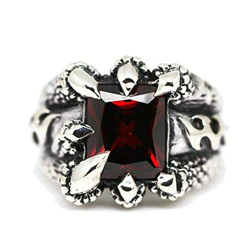 Amody Ring Silber 925 Vintage Drachenklaue Ring Roter Zirkonia 19.5MM Freundschaftsringe Punk Ringe Männer Größe 60 (19.1) (Ring Blau Gold Stein 14k Männer Für)