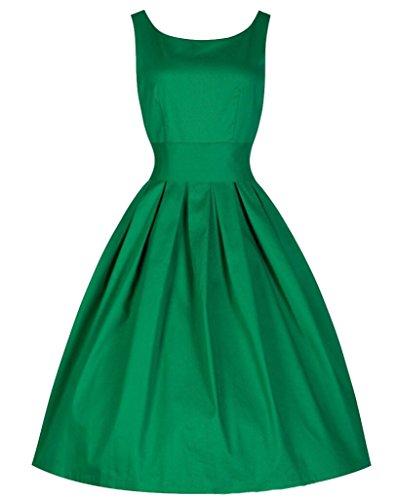 Ghope Femme Robe Vintages Rockabilly Balançoire Soir 1950s Vert