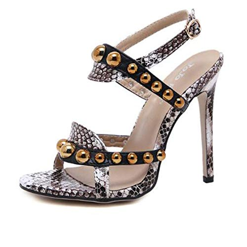 Women es High Heels, European and American Women ' S Sandalen Rivets Curved with Sexy Stiletto Open Toe Buckle Black/Party and Party/Party and Party and Party and Party Black Womens Stiletto