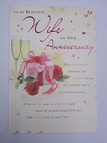 ange Wunderbar formuliert 5vers Beautiful Wife Anniversary Karte ()