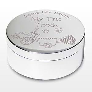 Boîte à bijoux personnalisée Train My First Tooth–Un magnifique cadeau pour enfant, baptême, pour bébés et enfants, garçons–personnalisé pour vous gratuitement