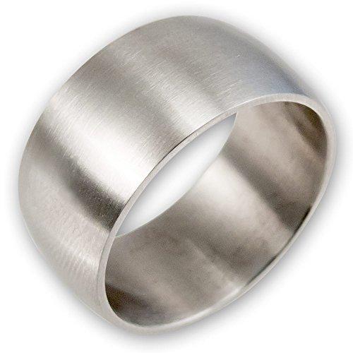 Fly Style® Breiter Band-Ring Edelstahl, breite Ringe für Damen Herren silber matt, Biker Rocker Motorrad Schmuck, Ring Grösse:22.0 mm (Silber Band Damen Ringe)