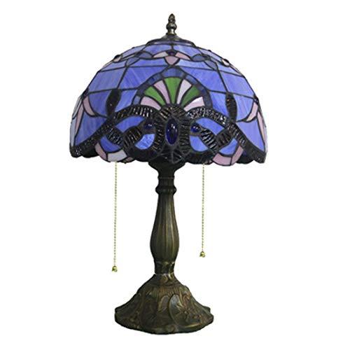 Farbige Glas-tisch-lampen (CCDYLQLG Tiffany-Stil farbigeglas Leselampe mit handgefertigten farbigen Glas, Metall-Basis mit Dunkelbraun Enden Tisch Lampe hoch blau lila Barock Lavendel Schatten)