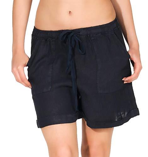 aus Leinen | lockere Bermuda | Kurze Hose | Pants für den Strand - Hotpants 1965 (dunkelblau, XXL) ()