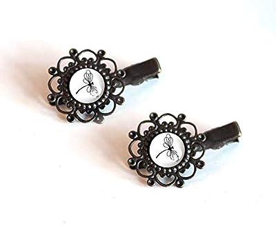 2 Barrettes à cheveux, Cabochon 12 mm, Libellule noir et blanc, bronze