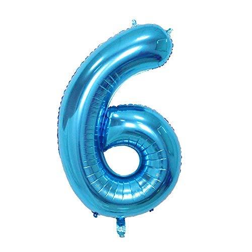 ShopVip Birthday Luftballons - Nummer 6 - Dekoration Geburtstag Hochzeit Riese 80 CM - Riesige Nummer Ballon blau - Anzahl Ballon 6 Jahre - Nummer 6 - 60 Jahre