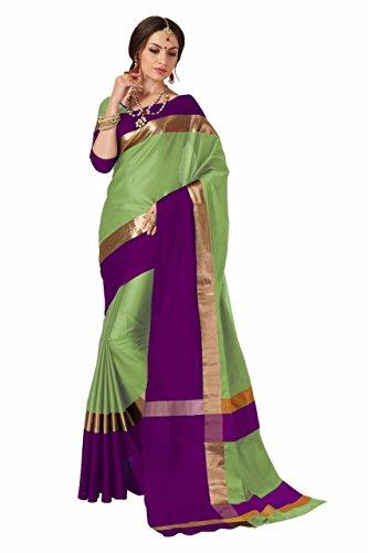 Indian Beauty Women's Cotton Art Silk Saree With Blouse(AANGI-N-PISTA_pista_Free Size)